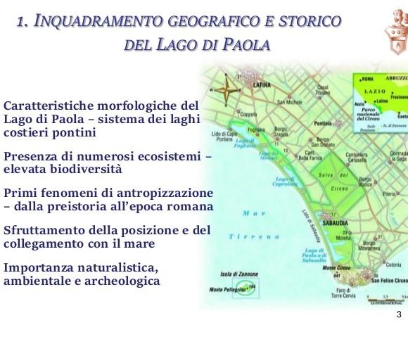 inquadramento geografico e storico del lago di Paola